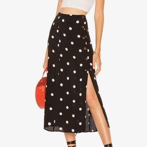 NWT Free People Polka Dot Button Down Maxi Skirt